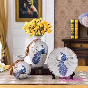 Đồ trang trí phòng bình gốm chim công phú quý