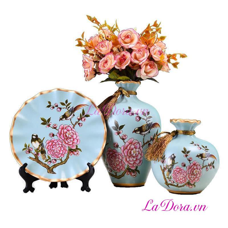 Bình gốm sứ chim và hoa đẹp