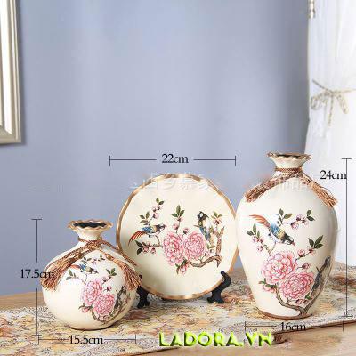 bình gốm sứ chim và hoa trang trí đẹp