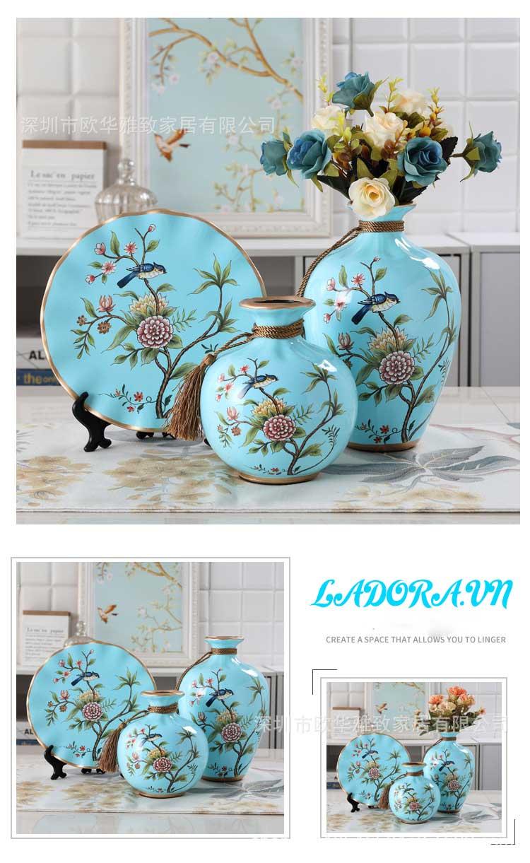 Gốm sứ trang trí chim và hoa