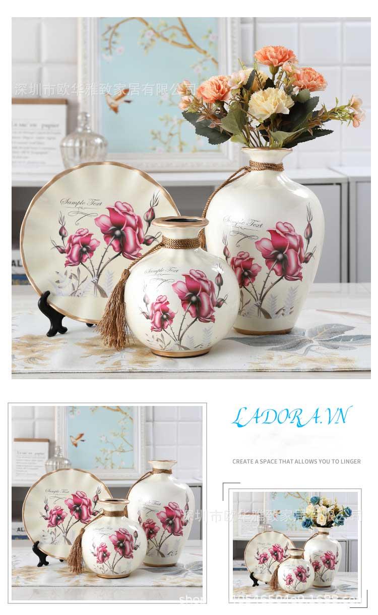 Bộ ba bình gốm hoa hồng trang trí phòng khách