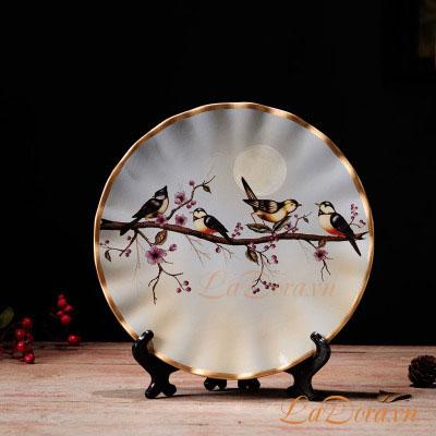 đồ trang trí bình gốm chim và hoa tại Ladora.vn