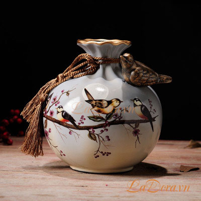 đồ trang trí bình gốm chim và hoa đẹp tại Ladora.vn