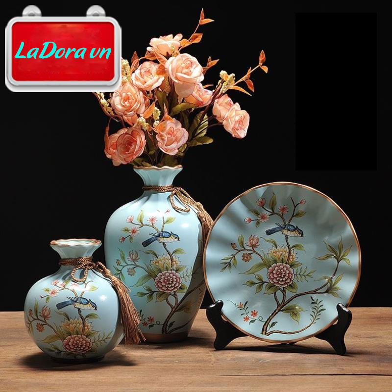 Bình gốm sứ chim và hoa trang trí phòng khách đẹp