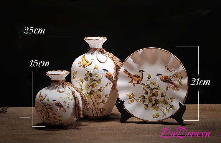 mua bình gốm chim và hoa đẹp tại ladora