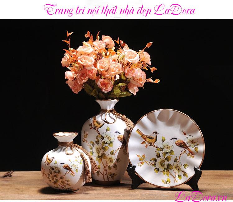 mua bình gốm chim và hoa tại LaDora.vn