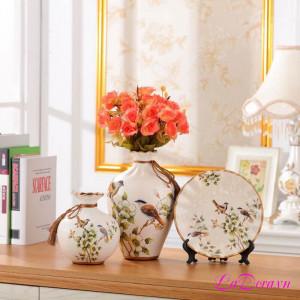 Mua Bình gốm sứ chim và hoa đẹp tại LaDora