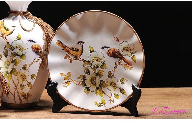 mua bình gốm chim và hoa trang trí phòng khách tại LaDora.vn