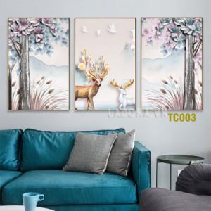 Tranh treo tường trang trí cặp hươu tại ladora.com.vn