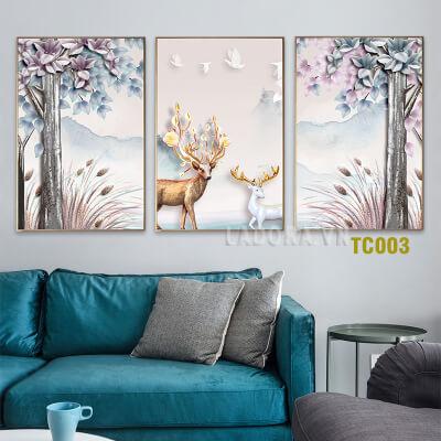Tranh treo tường trang trí cặp hươu tại ladora.vn