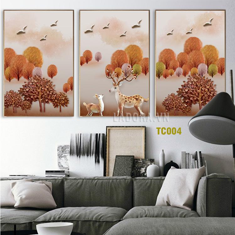 tranh treo tường trang trí cặp hươu đẹp tại ladora