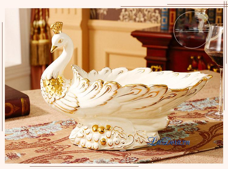 Đĩa đựng trái cây đẹp chim công tại shop bán đồ trang trí nội thất nhà ở hà nội ladora