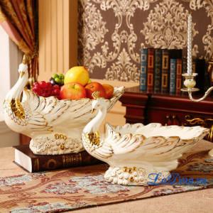 Đồ trang trí bàn ăn sang trọng và đẳng cấp đĩa đựng trái cây chim công tại ladora.vn