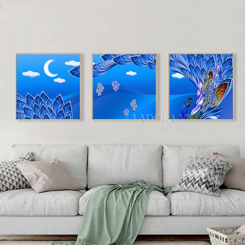 Tranh treo tường chim công trang trí tại Ladora.vn