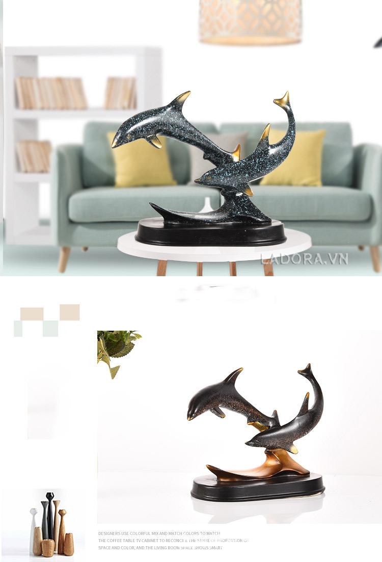 tượng cặp cá heo tại cửa hàng bán đồ trang trí nhà đẹp ladora