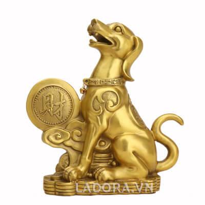 tượng chó trang trí bằng đồng phong thủy tại ladora.vn