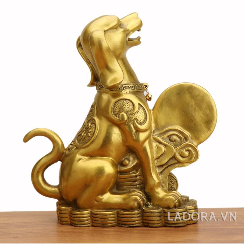 tượng chó bằng đồng phong thủy tại ladora.vn