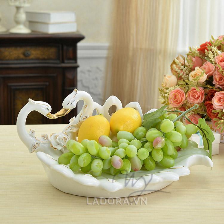 đĩa đựng trái cây gốm sứ tại shop đồ trang trí nhà ladora