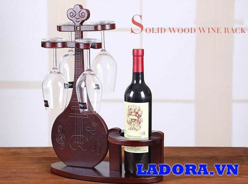 giá để ly rượu vang bằng gỗ độc đáo tại shop bán đồ trang trí nhà đẹp ladora