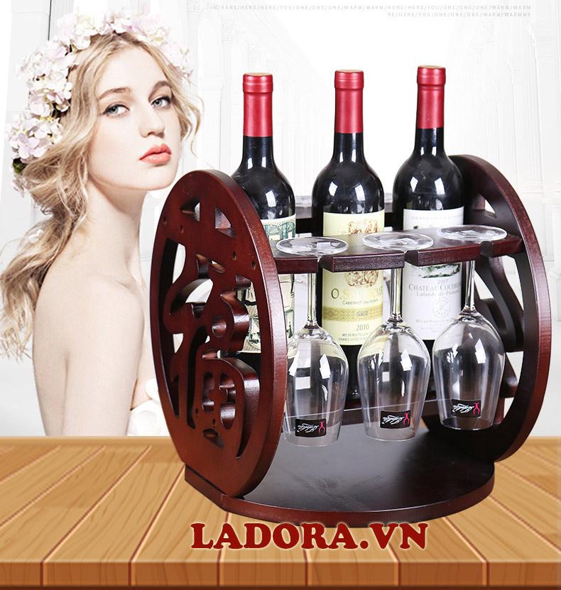 giá treo ly rượu vang chữ Phúc - sản phẩm bán chạy tại shop đồ trang trí nhà ladora