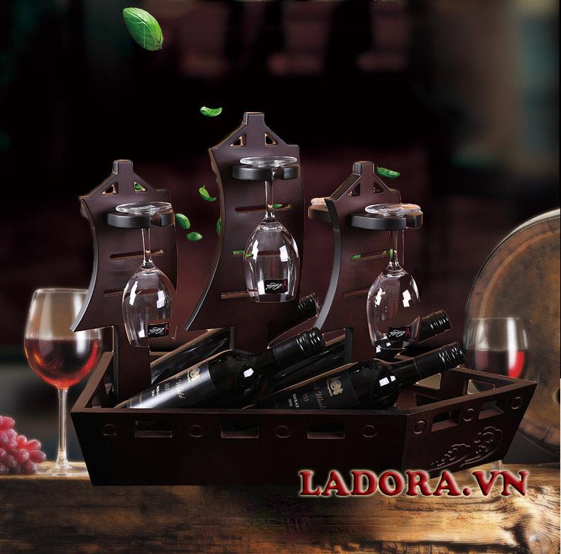giá để rượu vang thuận buồm xuôi gió trang trí nội thất phong thủy tại ladora shop