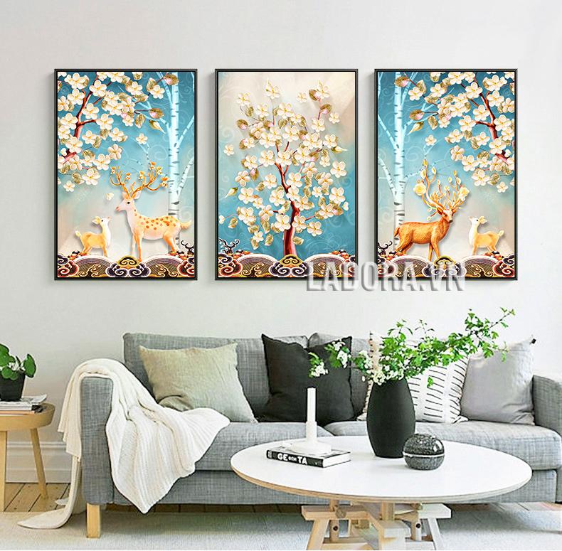 tranh treo tường trang trí phòng khách tại shop bán đồ trang trí nhà đẹp ở hà nội Ladora