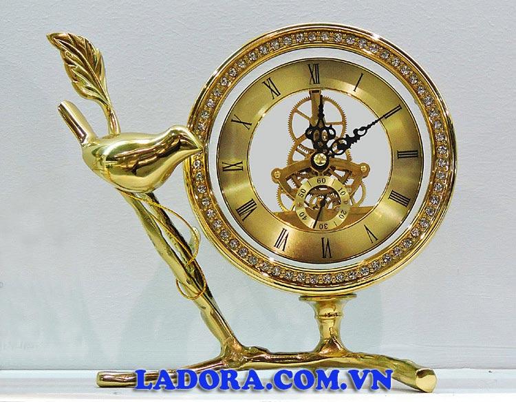 đồng hồ để bàn trang trí bàn làm việc chim vàng phú quý tại Ladora Shop