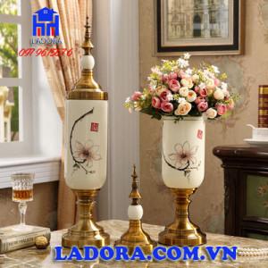 bộ 3 lọ hoa sứ trang trí phong cách tân cổ điển - đồ trang trí phòng khách tại ladora shop
