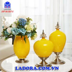 decor trang trí bộ lọ hoa tân cổ điển tại Ladora shop